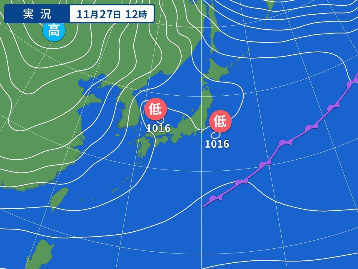 27日の天気 関東や北日本は冷たい北風 日本海側は午後から雨の範囲広がる(ウェザーマップ)
